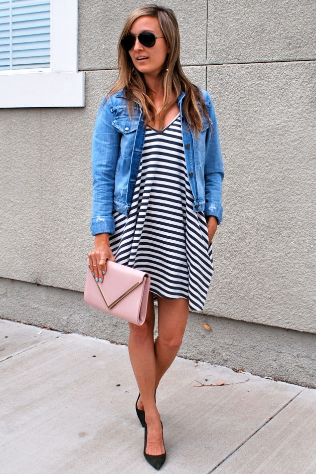 Lovers + Friends stripe dress, Manolo Blahnik pumps, Denim jacket