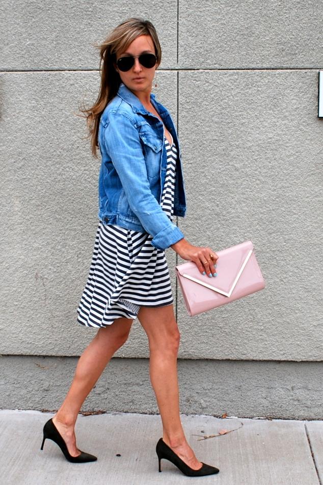 Lovers + Friends Stripe Dress, Manolo Blahnik BB Pumps